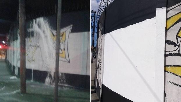 Muro pichado e muro com ' imagem 'apagada' de Robinho no CT do Santos