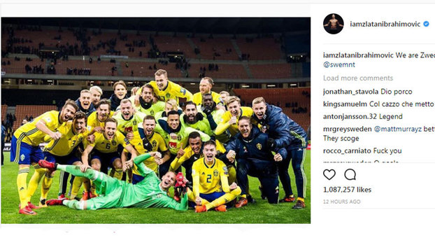 Ibra comemora classificação da Suécia nas redes sociais e é detonado por  italianos  f68ce8a0193bd