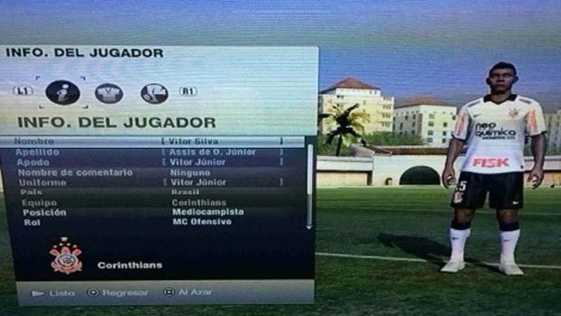 Tela do jogo de vídeo-game Fifa de 2014 com perfil de Vitor Júnior no Corinthians