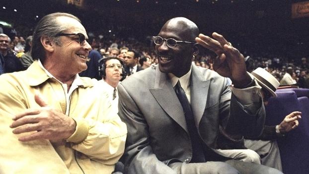 Jack Nicholson e Michael Jordan em 28 de fevereiro de 1999, em Los Angeles, para o jogo entre Lakers e Rockets