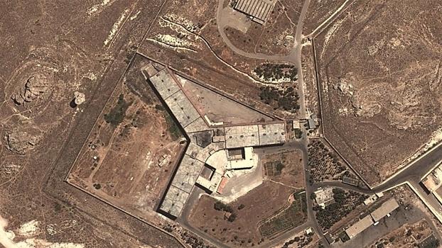 Visão aérea da Sednaya Military Prison, na Síria, que a Anistia Internacional chama de
