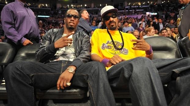 Sean 'Diddy' Combs e Snoop Dogg: lado a lado no jogo 6 das Finais da NBA em 2010 entre Celtics e Lakers