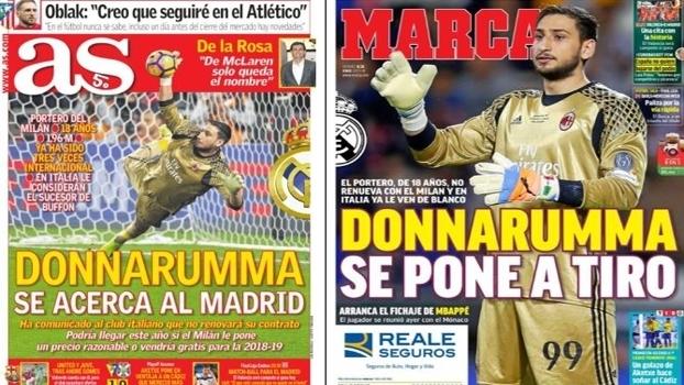 Capas com Donnarumma nos jornais de Madri