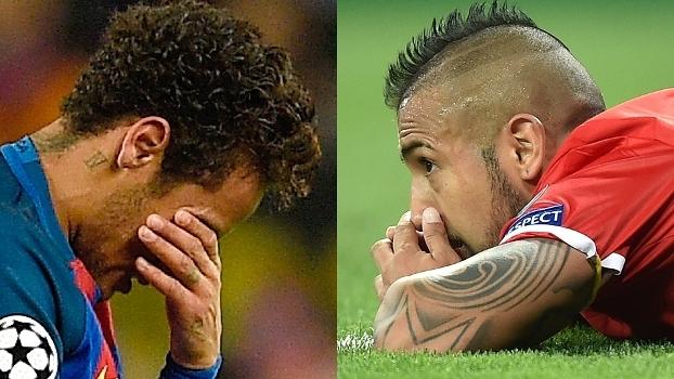 A tristeza de Neymar e Vidal: Barcelona e Bayern eliminados nas quartas da Champions