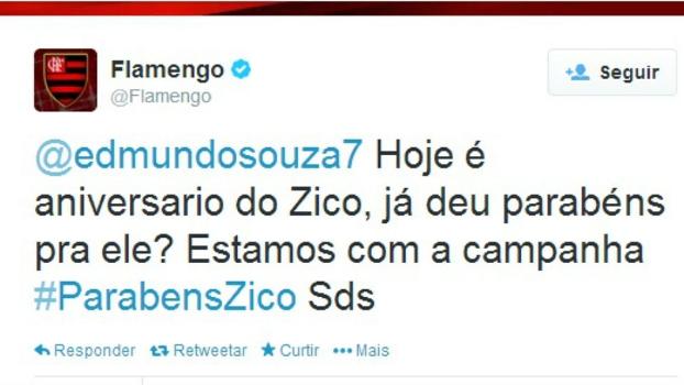 Perfil oficial do Flamengo no Twitter pede  ajuda  a Edmundo 8ad6efd656729