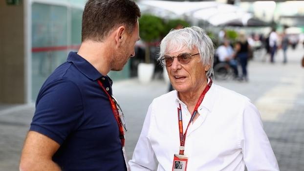 Christian Horner, chefe da Red Bull, e Bernie Ecclestone no paddock de Interlagos