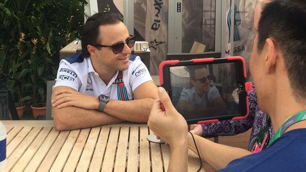 Felipe Massa é entrevistado durante a quinta-feira em Cingapura