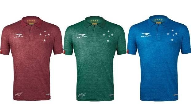 d5227d81a0 Novas camisas do Cruzeiro têm modelos bordô