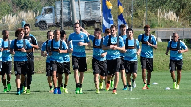 Jogadores do uruguai durante treino da equipe
