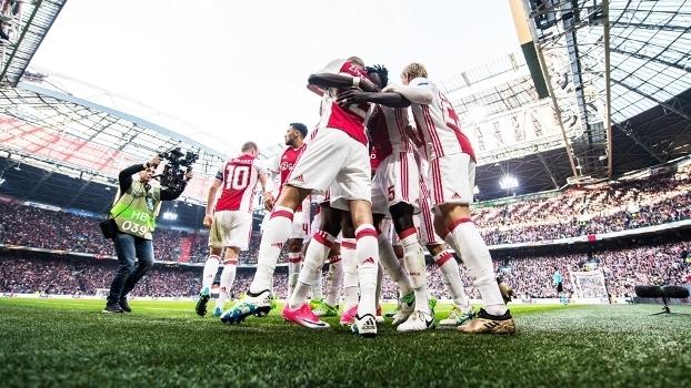 Ajax Comemora Gol Lyon Liga Europa 03/05/2017