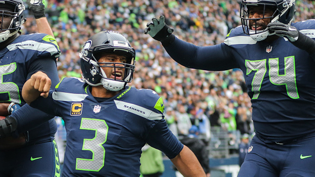 Russell Wilson comemora TD na NFL