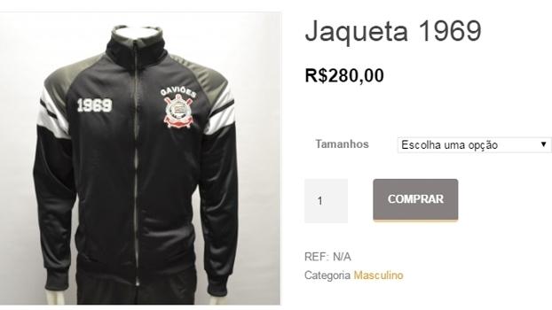 Jaqueta vendida pela Gaviões da Fiel com o escudo do Corinthians 5387be773088a