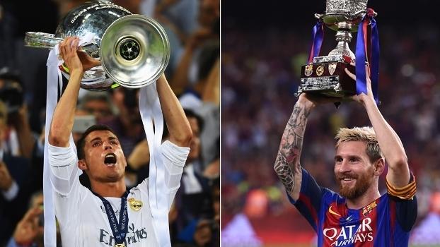ca63d8d312 Ronaldo e Messi disputam título do Espanhol  mas quem tem mais taças ...