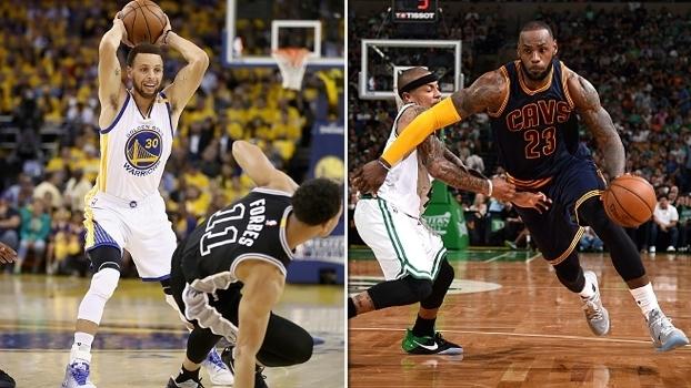 Stephen Curry e LeBron James comandam 'passeios' de seus times