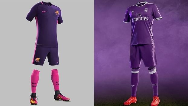 Barcelona e Real Madrid lançam uniformes de cor roxa no mesmo dia