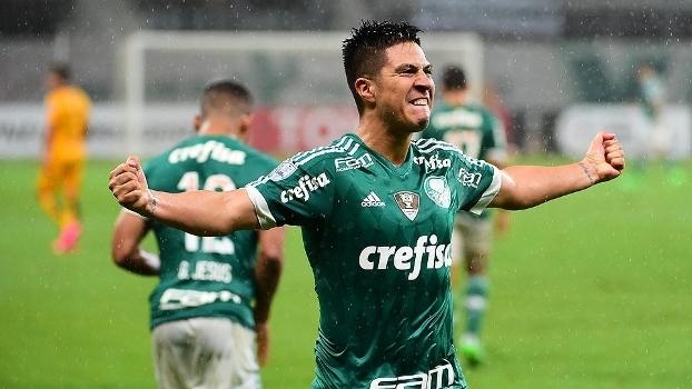 Cristaldo vibra após marcar para o Palmeiras sobre o Rosario Central