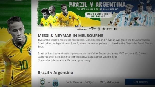 Neymar é usado como atração para vender ingressos para Brasil x Argentina na Austrália