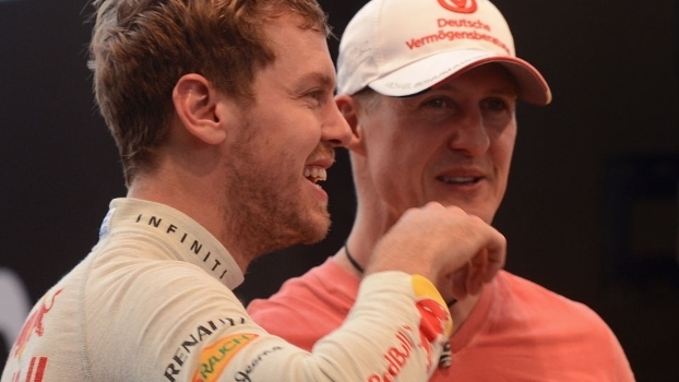 Sebastian Vettel e Michael Schumacher na Corrida dos Campeões de 2012