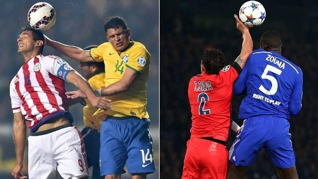Thiago Silva coloca a mão na bola em jogos por Brasil e do Paris Saint-Germain