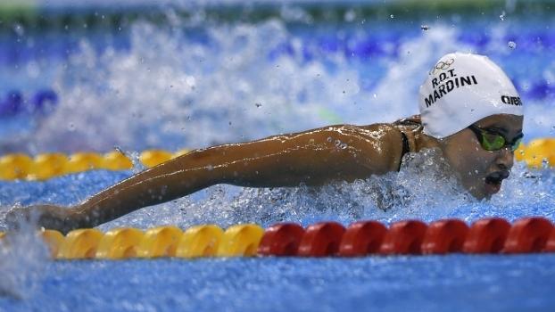Yusra Mardini em ação no primeiro dia da natação na Olimpíada do Rio-2016