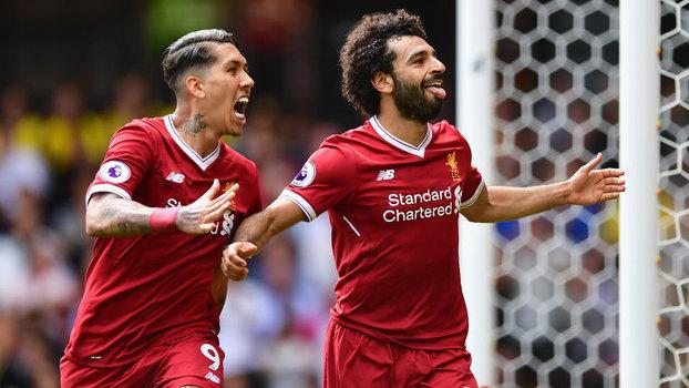 Roberto Firmino e Salah celebram o gol da virada do Liverpool sobre o Watford (Getty Images)