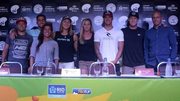 Feras do surfe participaram de entrevista, nesta segunda-feira, no Rio de Janeiro