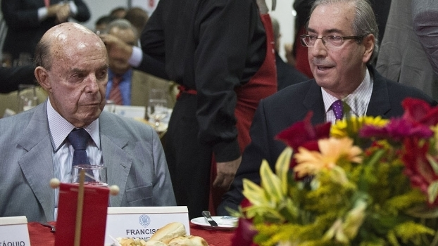 Francisco Dornelles, senador e vice-governador do Rio, e Eduardo Cunha, presidente da Câmara dos Deputados