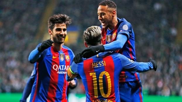 Messi Comemora Gol Barcelona Celtic Champions 23/11/2016