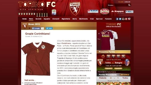 Agradecimento do Torino ao Corinthians após o clube paulista lançar camisa  grená b3a8c36e4028a