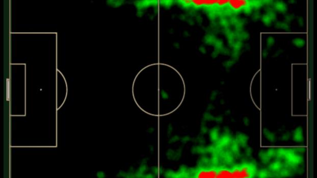 Mapa de ações com bola de João Rojas nas suas duas últimas temporadas c157729088cb9