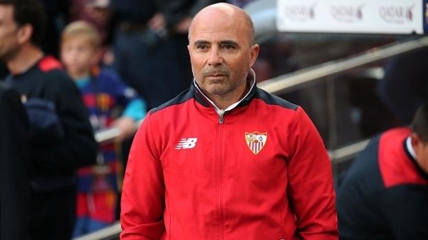 Jorge Sampaoli, em jogo do Sevilla no Campeonato Espanhol