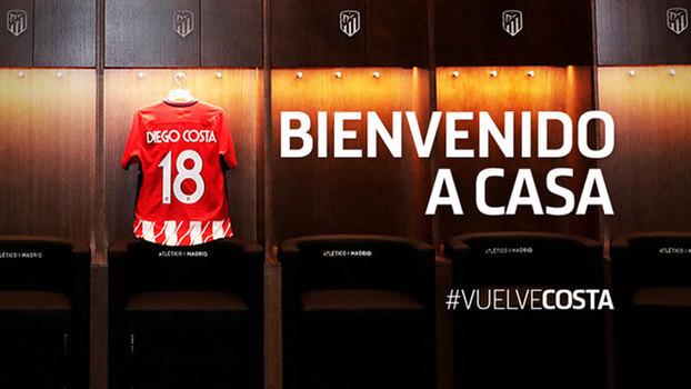 c5a0a27a1b Diego Costa agora será o camisa 18 do Atlético de Madri