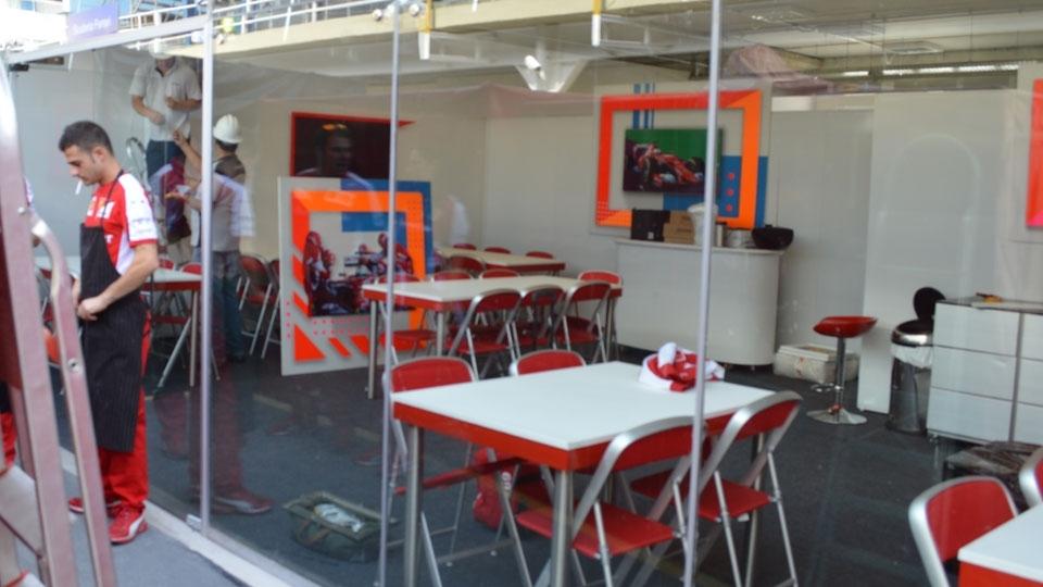 Espaço de hospitalidade da Ferrari, um dos mais disputados de Interlagos
