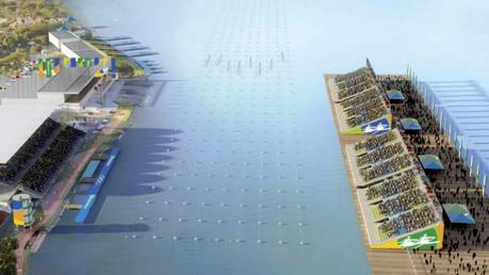 Projeto do Estádio Olímpico da Lagoa, com as polêmicas arquibancadas flutuantes sobre a água