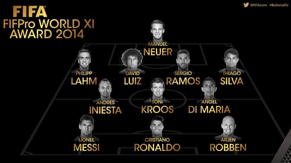 Ausentes de festa, David Luiz e Thiago Silva são eleitos para seleção ideal de 2014 da Fifa
