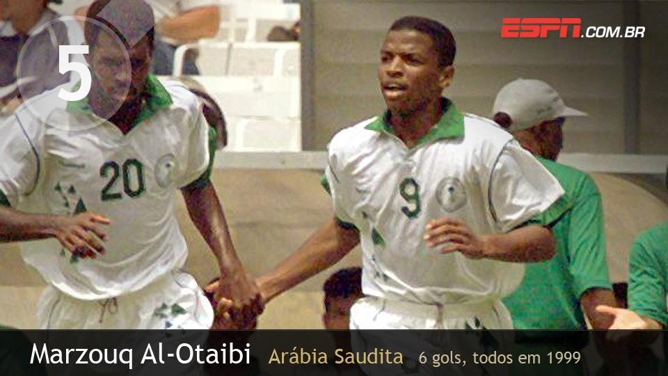 Al-Otaibi brilhou em 1999: foram 4 gols contra o Egito na 1ª fase e mais 2 nos 8 a 2 para o Brasil contra a Arábia Saudita na semi