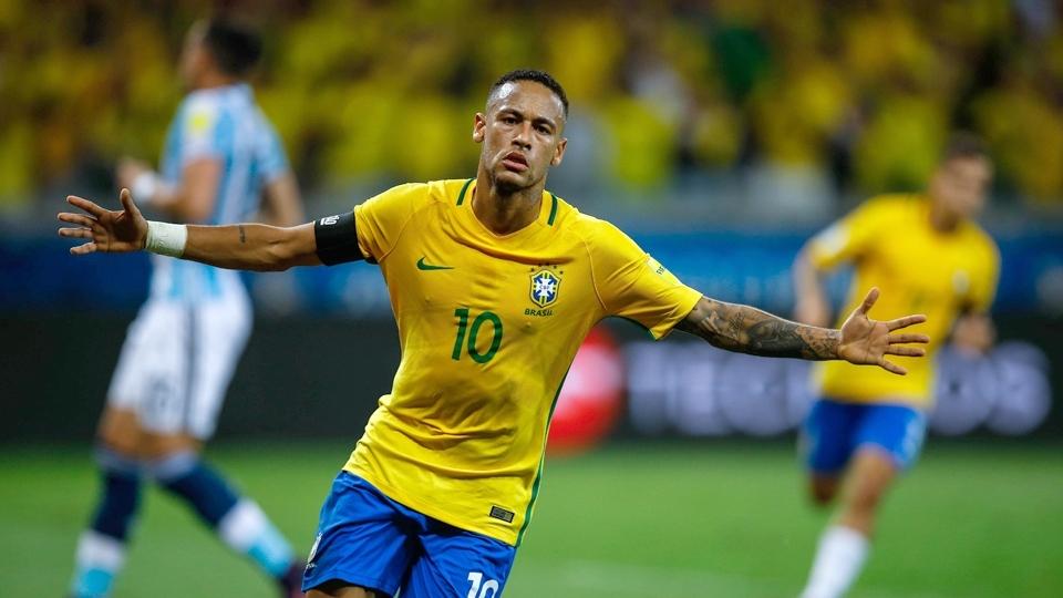 ESPN Neymar comemora ao marcar 2 a 0 para o Brasil contra a Argentina no  Mineirão b6dad5467f4