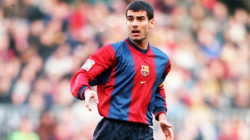 ESPN Guardiola com a camisa 1998 99 do Barcelona  listras grossas em  desenho tradicional 02402494c7e02
