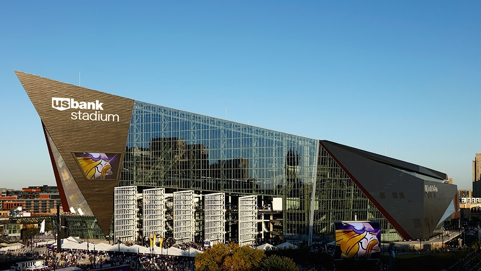 7. US Bank Stadium, em Minneapolis (EUA) - estádio do Minnesota Vikings, da NFL