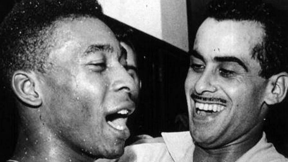 Pelé e Zito na Copa de 1958. Os dois eram parceiros no Santos e na seleção