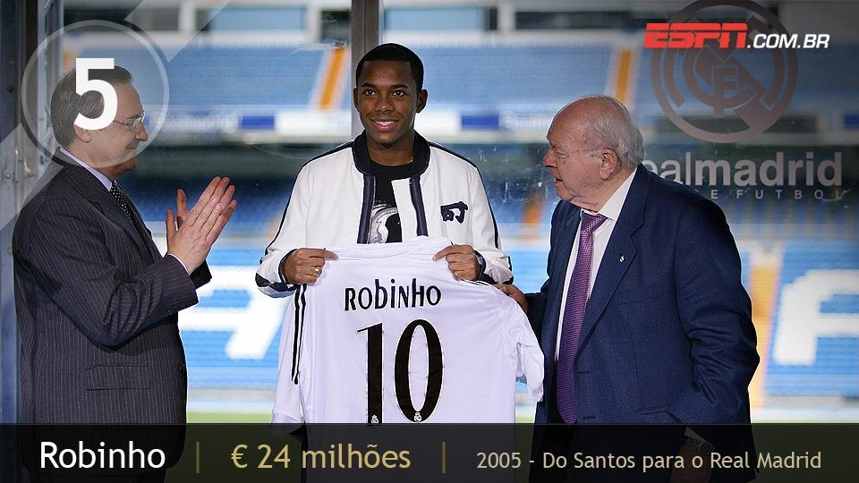 Apontado como o grande nome do futebol nacional no começo do século, Robinho trocou o Santos pelo Real Madrid por 24 milhões de euros