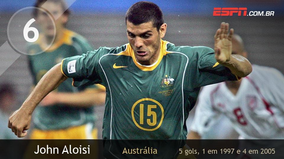A Austrália foi vice em 1997, mas foi em 2005, quando o time caiu na primeira fase, que Aloisi brilhou, fazendo 4 dos 5 gols da equipe no torneio