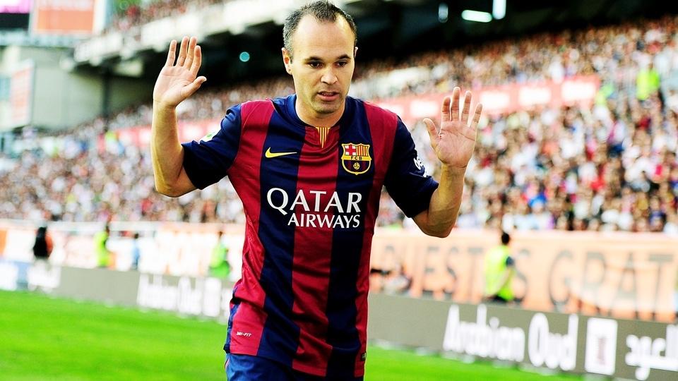 ESPN Iniesta com a camisa 2014 15 do Barcelona  de novo com listras médias a7ff891234f62