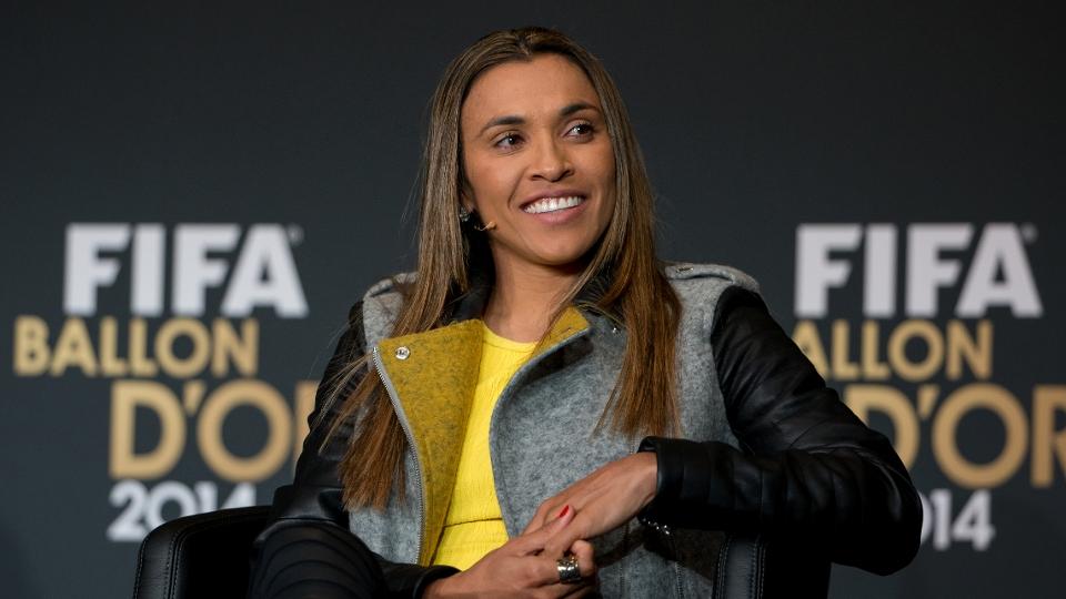Marta, durante a premiação da Fifa