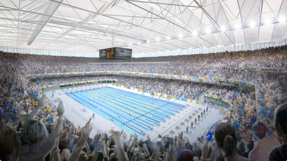 O Estádio Aquático Olímpico terá capacidade para 18 mil pessoas e vai receber primeiro evento-teste em abril de 2016
