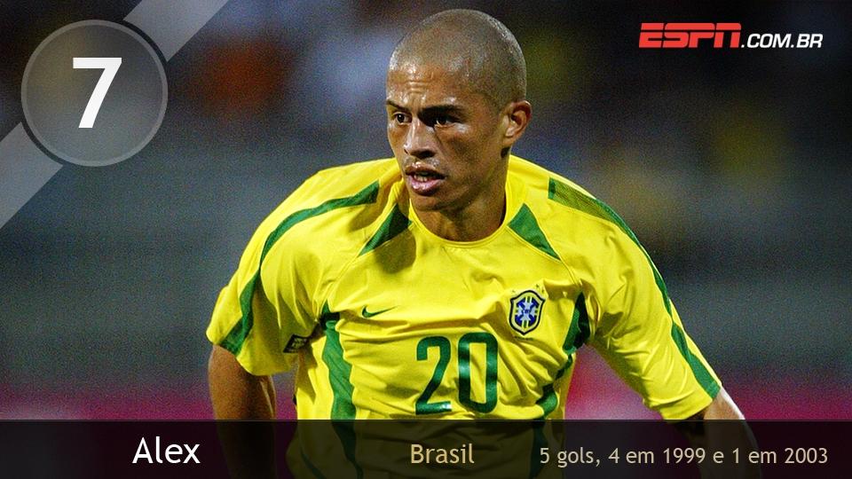 Alex nunca foi campeão do torneio, mas foi vice-artilheiro em 1999, quando o Brasil perdeu a final para o México; em 2003, fez apenas um gol