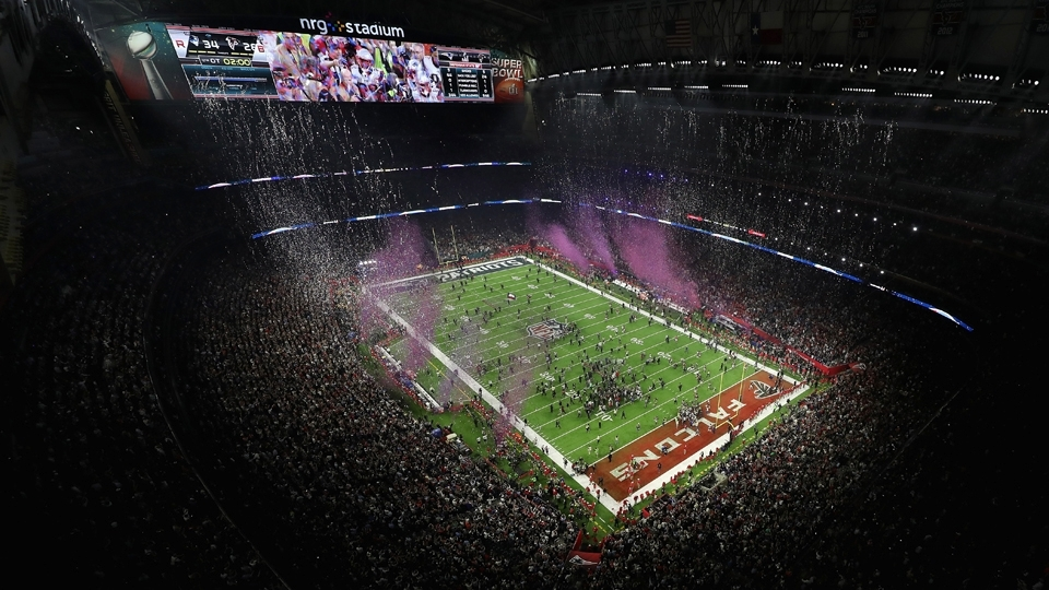 O NRG Stadium em festa: os Patriots campeões do Super Bowl LI