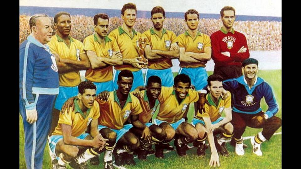 Brasil, campeão do mundo em 1958: Feola, D. Santos, Zito, Bellini, N. Santos, Orlando e Gilmar (em pé); Garrincha, Didi, Pelé, Vavá, Zagalo e Amaral