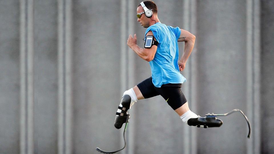 Oscar Pistorius durante sessão de treinos
