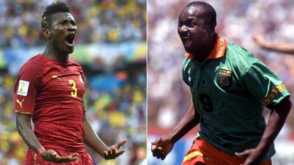 O ganês Asamoah Gyan igualou o camaronês Roger Milla como o maior artilheiro da África, com 5 gols